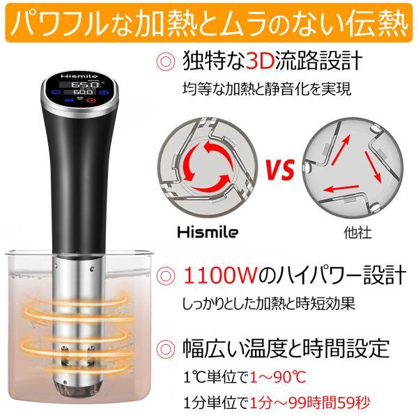 低温調理器 真空低温調理器 スロークッカー キッチン家電 IPX7防水 日本語取扱説明書とレシピ付 国内品質保証 ブラック|hismile|02