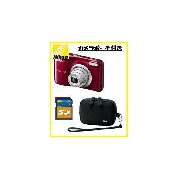 今ならカメラポーチ・SDHCカード8GB付き【送料無料】 Nikon・ニコン らくらくオート撮影搭載・単三電池対応 COOLPIX A10 レッド[COOLPIX L32の後継機]