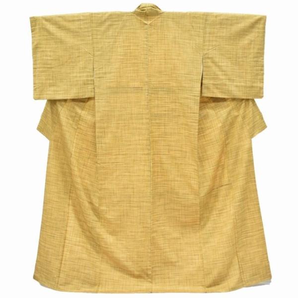 リサイクル 真綿紬 中古 正絹 つむぎ 特選 美品 裄63cm 茶系 裄Sサイズ|hitotoki