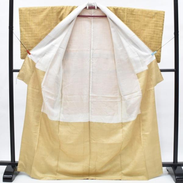 リサイクル 真綿紬 中古 正絹 つむぎ 特選 美品 裄63cm 茶系 裄Sサイズ|hitotoki|02