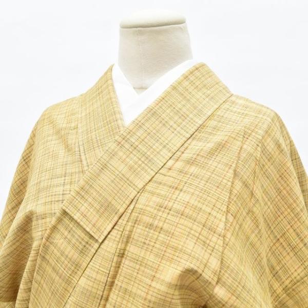 リサイクル 真綿紬 中古 正絹 つむぎ 特選 美品 裄63cm 茶系 裄Sサイズ|hitotoki|03