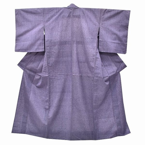リサイクル 真綿紬 中古 正絹 単衣 つむぎ 裄65.5cm 裄Mサイズ jj0370b|hitotoki|02