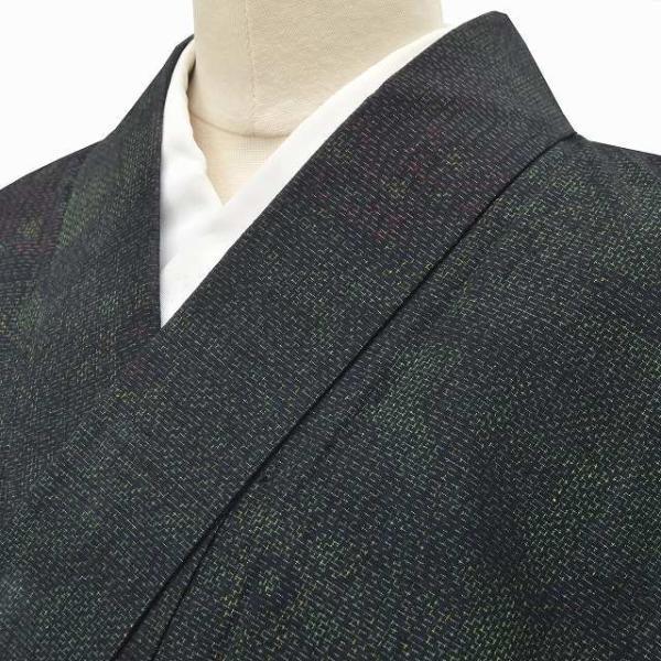 リサイクル 紬 中古 正絹 つむぎ 草花文様 裄64.5cm 緑系 jj0570b|hitotoki