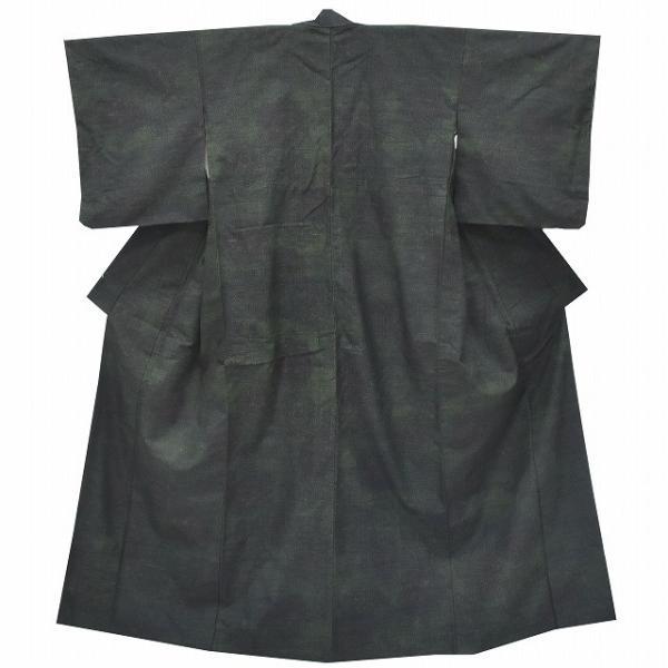 リサイクル 紬 中古 正絹 つむぎ 草花文様 裄64.5cm 緑系 jj0570b|hitotoki|02