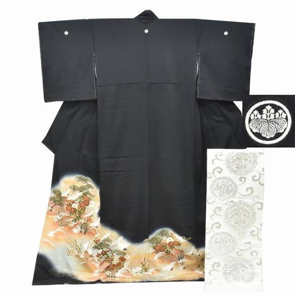 リサイクル着物 黒留袖 中古 正絹 五つ紋 袋帯 2点セット ちょっとふくよかL Lサイズ ll2418b|hitotoki