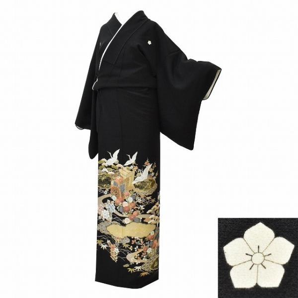 黒留袖 中古 着物 リサイクル 正絹 五つ紋 比翼付き 仕立て上がり ちょっとふくよかL mm0762b|hitotoki