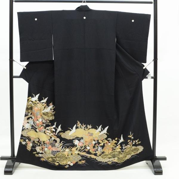 黒留袖 中古 着物 リサイクル 正絹 五つ紋 比翼付き 仕立て上がり ちょっとふくよかL mm0762b|hitotoki|02