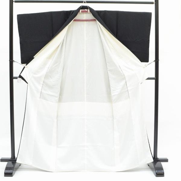 黒留袖 中古 着物 リサイクル 正絹 五つ紋 比翼付き 仕立て上がり ちょっとふくよかL mm0762b|hitotoki|03