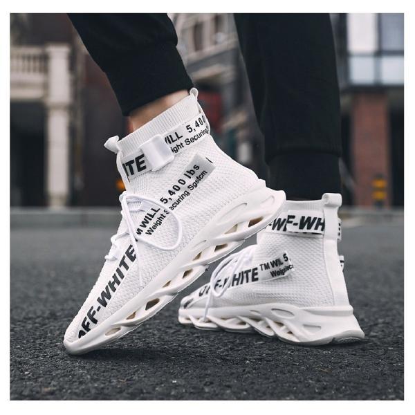 メンズスニーカー靴ハイカットカジュアルシューズ厚底クッション性ファッションウォーキング通学ロゴ英字ダンス衣装