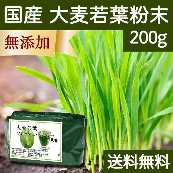 送料無料 国産・大麦若葉粉末200g 無添加 100% 青汁スムージーに 野菜不足の方に 無農薬 hl-labo