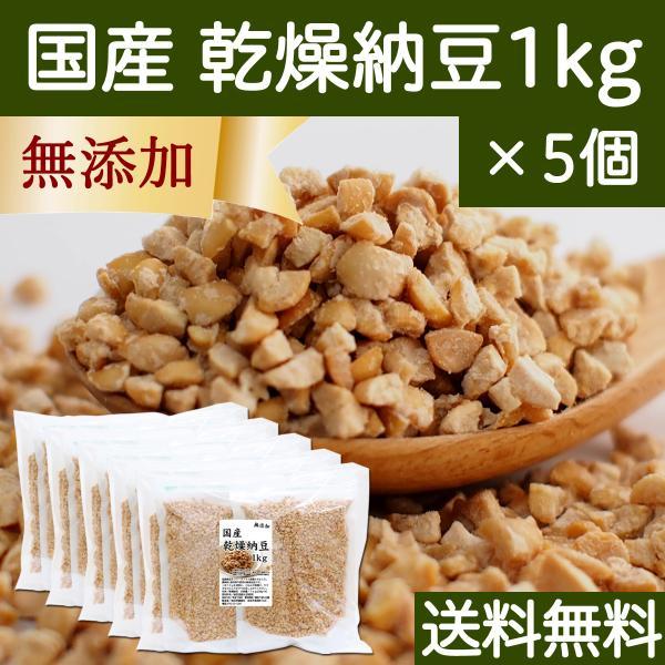 国産・乾燥納豆1kg×5個(250g×20袋) 無添加 ドライ納豆 フリーズドライ  送料無料