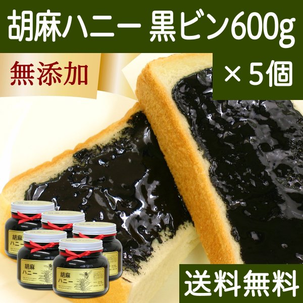 ごまハニー黒ビン600g×5個 黒胡麻 黒ごま ペースト 無添加 蜂蜜  送料無料