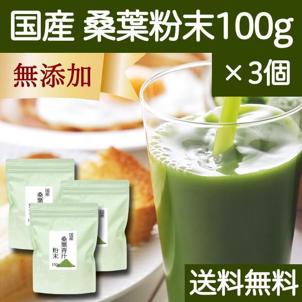 送料無料 国産・桑葉青汁粉末100g×3個 無添加 100% 青汁スムージーに 野菜不足、食物繊維不足に|hl-labo