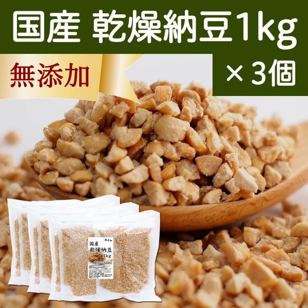 国産・乾燥納豆1kg×3個(250g×12袋) 無添加 ドライ納豆 フリーズドライ
