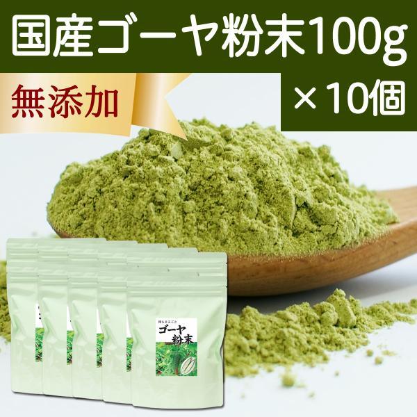 国産ゴーヤ粉末100g×10個 沖縄産 青汁 サプリメント 無添加 まるごと 丸ごと 100% ゴーヤー パウダー 苦瓜 にがうり ジュースに|hl-labo