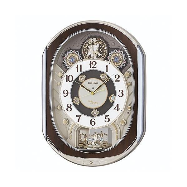 セイコー クロック 掛け時計 電波 アナログ からくり ご予約品 40曲 薄金色 パール ギフト RE578B 回転飾り メロディ SEIKO