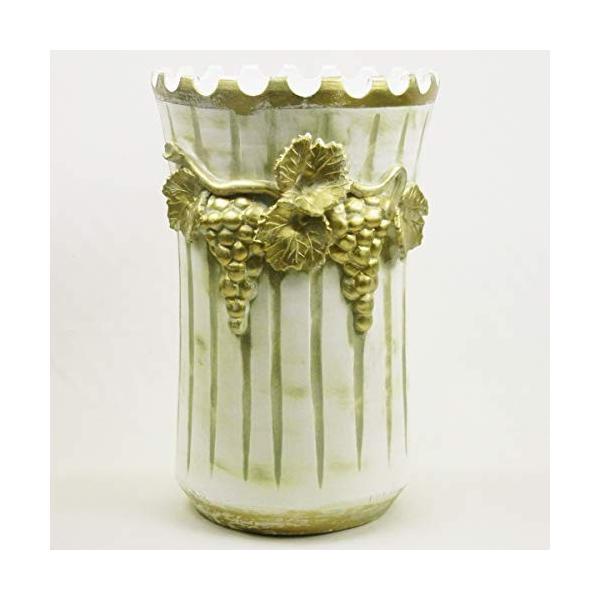 人気 本物◆ イタリア製 マヨリカ焼き 傘立て アイボリーamp;ゴールド ブドウ柄 22-14145W Ф28H45cm