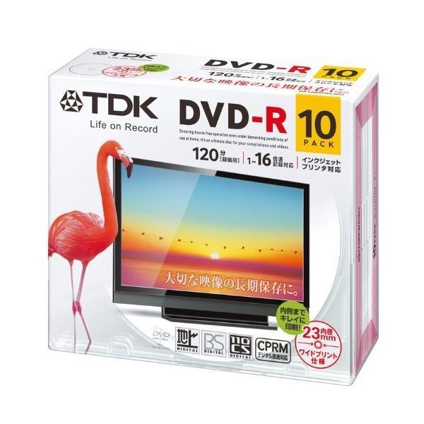 TDK 録画用DVD-R デジタル放送録画対応(CPRM) 1-16倍速 インクジェットプリンタ対応(ホワイト・ワイド) 10枚パック 5mmケース|hobipoke