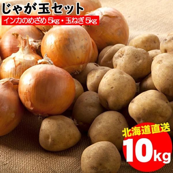 2021年ご予約承り中 10月出荷開始送料無料 北海道産 じゃが玉セット インカのめざめ 5kg(S〜2L混合)&玉ねぎ 5kg(L〜L大)合計10kg / 10キロ 野菜セット