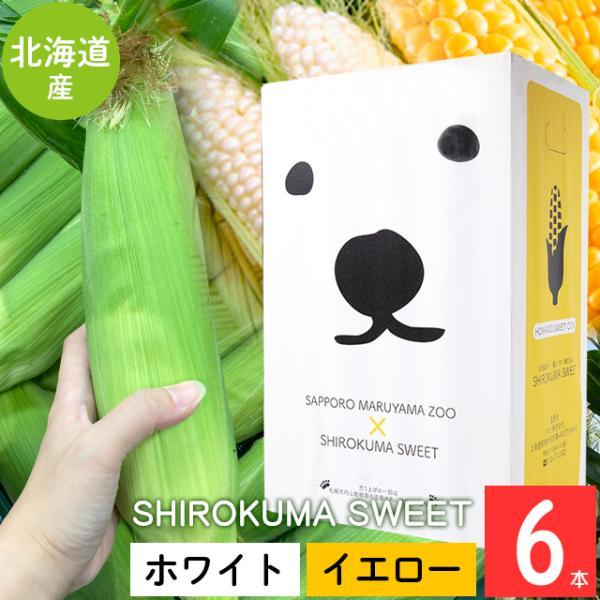 予約受付中 とうもろこし 北海道 送料無料 SHIROKUMA SWEET 北海道産 イエローコーン&ホワイトコーン 6本 / 産地直送 ピュアホワイト 味来 ホワイトショコラ