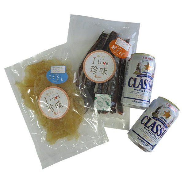 ビール ギフト 送料無料 サッポロクラシック(8缶)&選べる珍味(2袋) / サッポロビール セット|hokkaido-gourmation|02
