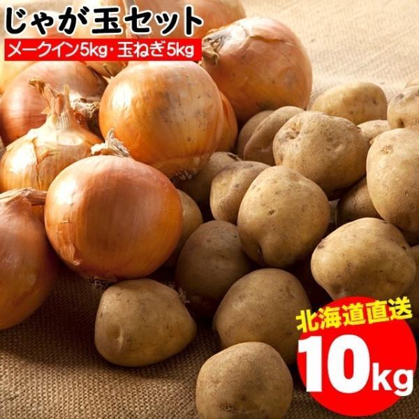 2021年ご予約承り中 10月出荷開始送料無料 北海道産 じゃが玉セット メークイン5kg(M-2L混合)&玉ねぎ5kg(L〜L大)合計10kg / 10キロ 野菜セット 詰合せ