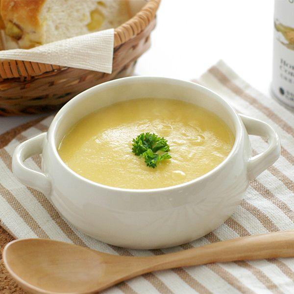 <札幌グランドホテル 北海道コーンスープ>道北サロベツの牛乳と生クリームのほか、バターや食塩に至るまで原料を北海道産を使用。