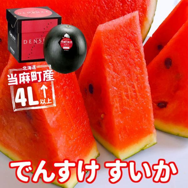 順次出荷  【産直】 北海道当麻町産 でんすけスイカ 4L〜(9Kg〜10Kg) 正規品【代引き不可】