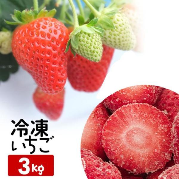 冷凍いちご 赤い妖精 特大 3kg ファームうかわ農園指定 ストロベリー フルーツ 砂糖不使用 ヘタなし 製菓 業務用 送料込