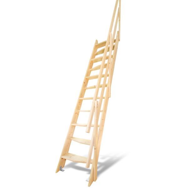 【デザインステップ】北欧産木製ロフト階段 梯子 ハシゴ ベッド 手摺付き 組み立て式 無塗装 DOLLE(ドーレ)|hokuo-no-mori