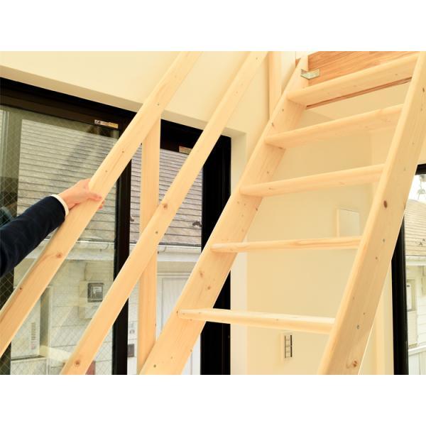 【ワイドステップ】北欧産木製ロフト階段 梯子 ハシゴ ベッド 手摺付き 組み立て式 無塗装 DOLLE(ドーレ)|hokuo-no-mori|03