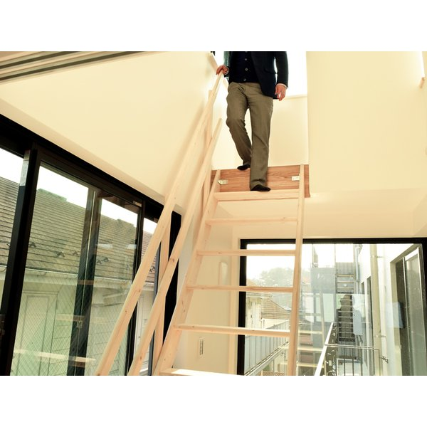 【ワイドステップ】北欧産木製ロフト階段 梯子 ハシゴ ベッド 手摺付き 組み立て式 無塗装 DOLLE(ドーレ)|hokuo-no-mori|05