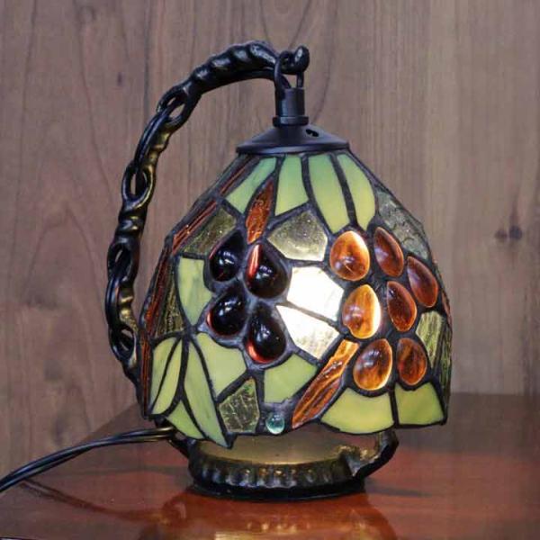 ステンドグラスランプ 葡萄 ミニランプ ブドウ アンティーク テーブルランプ ステンドランプ ステンドガラス