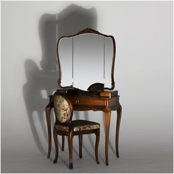 ドレッサー 三面鏡 チェア付 鏡台 セット カンティーニュ ルーシィー アンティーク ブラウン ホワイト ブラック シャンパンゴールド