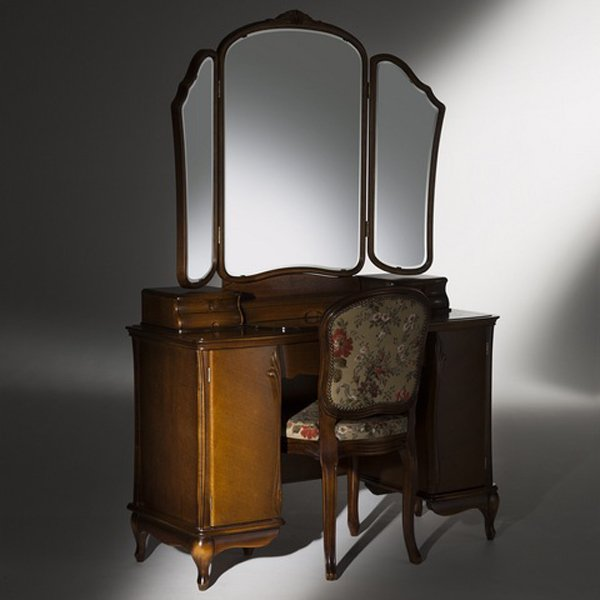 ドレッサー 半三面鏡 チェア付き 鏡台 カンティーニュ アロール 半三面 アンティーク ブラウン ホワイト ブラック シャンパンゴールド