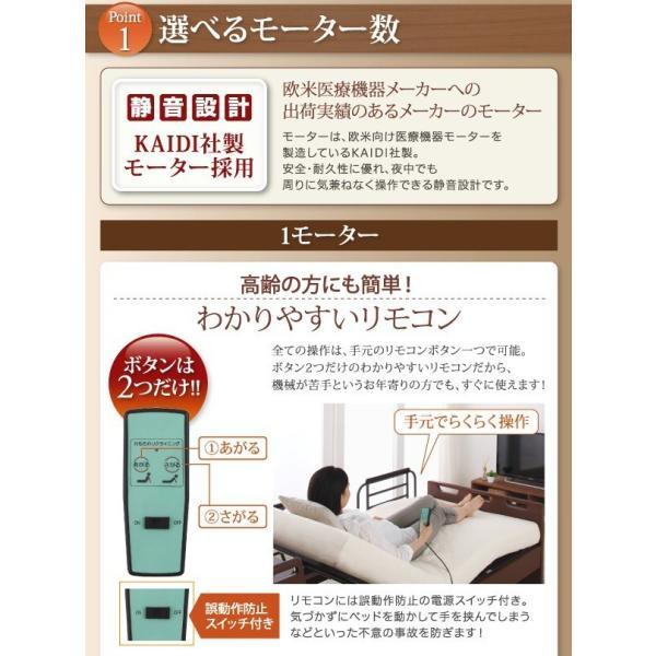 (組立設置) 介護ベッド 棚・照明・コンセント付き電動ベッド フレームのみ 2モーター ブラウン 茶|hokuoliving|04