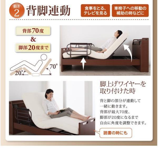 (組立設置) 介護ベッド 棚・照明・コンセント付き電動ベッド フレームのみ 2モーター ブラウン 茶|hokuoliving|06