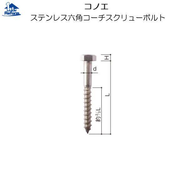 リフォーム用品 金物 ねじ・釘・アンカー 造作ねじ:コノエ ステンレス六角コーチスクリューボルト M8×50×5.5(mm)