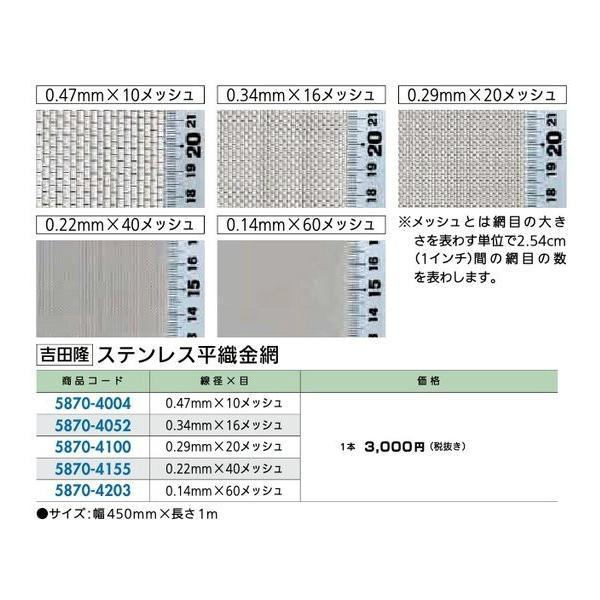 リフォーム用品 建築資材 型材・チェーン・金網 金網:吉田隆 ステンレス平織金網 0.47mmX10メッシュ hokusei