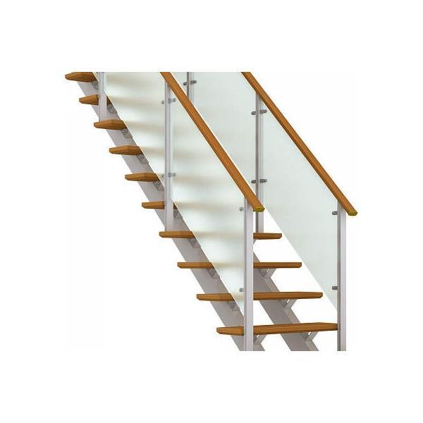 YKKAPアルミインテリア オープンリビング階段 桁タイプ[直線階段] 両側手すり ドットポイント: 上り切り 5段[幅772〜840mm×高965〜1050mm]