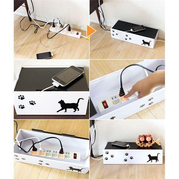 猫のケーブルボックス(コード収納/ケーブル収納) 大 幅40cm 黒猫(ねこ)柄 保護クッション付き 〔完成品〕|hokutoku|02