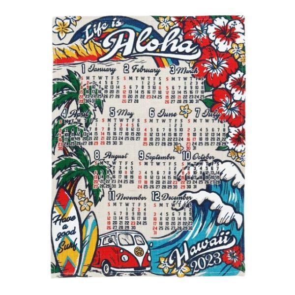 送料無料 ハワイアン雑貨 インテリア ハワイアン 2022年 ジュート カレンダー 壁掛けカレンダー ワンページ ポスター(ハイビスカス&モンステラ) 壁掛け