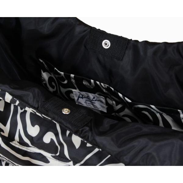 ハワイアン バッグ ハワイアン雑貨/フララニ 中綿トートバッグ マザーズバッグ スナップタイプ(リーフ/ブラック×アイボリー) HU4BG028 サーフブランド