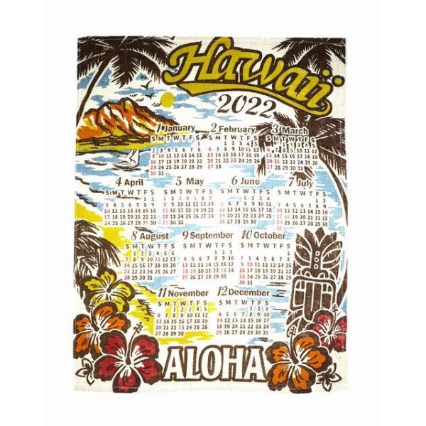 送料無料 ハワイアン雑貨 インテリア ハワイアン 2022年 ジュート カレンダー 壁掛けカレンダー ワンページ ポスター(TIKI/ティキ) ヴィンテージ ヤシ ハワイ