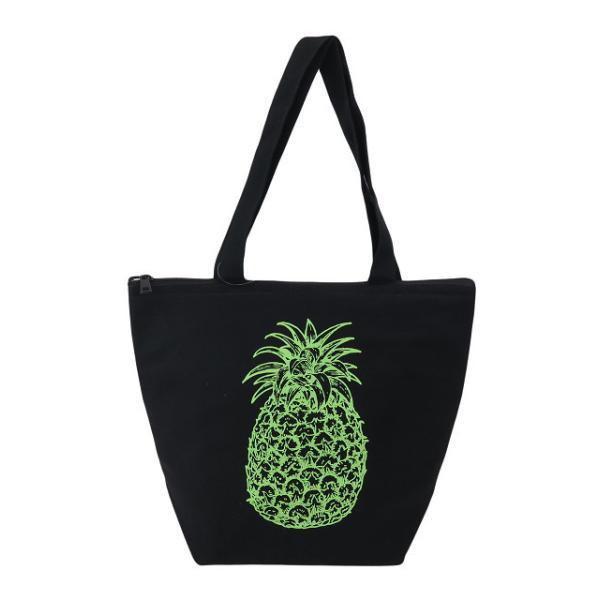 ハワイアン 保温保冷バッグ トートバッグ ハワイ バッグ パイナップル (ブラック) maka hou ハワイアン雑貨 ハワイ