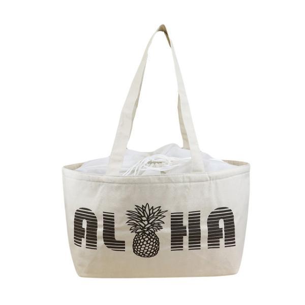 ハワイアン 保温保冷バッグ トートバッグ 大容量 レジカゴバッグ ALOHA パイナップル (ナチュラル) maka hou ハワイアン雑貨 ハワイ 雑貨