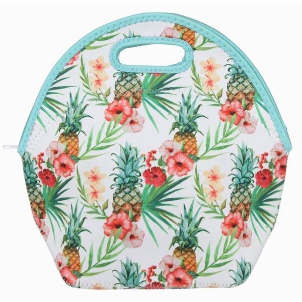 保冷保温バッグ 防水 トートバッグ ランチボックス バッグ(ハイビスカス/パイナップル) ウェットスーツ素材 ハワイアン雑貨 アメリカン雑貨 ハワイ