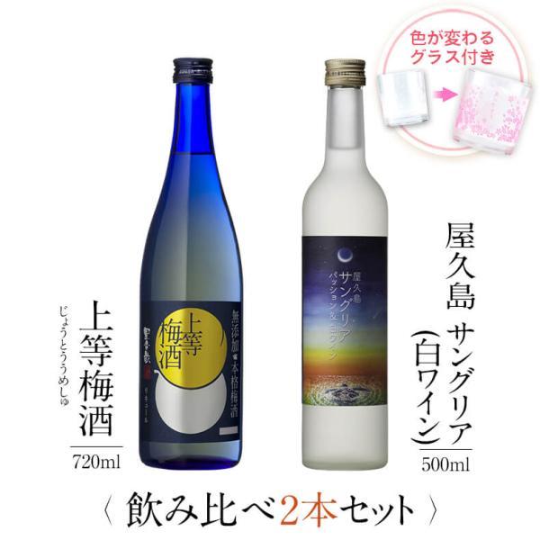 飲み比べセット ギフト グラス付き 上等梅酒 屋久島サングリア パッション&白ワイン 2本 セット 焼酎 誕生日 プレゼント  送料無料 本坊酒造