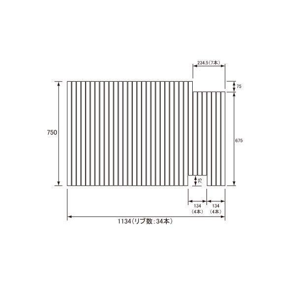 お風呂のふた パナソニック (松下電工 ナショナル) 風呂ふた 巻きふた GA121FJLC (GA121FJLの代替品) 750×1134mm (リブ数 : 34本)