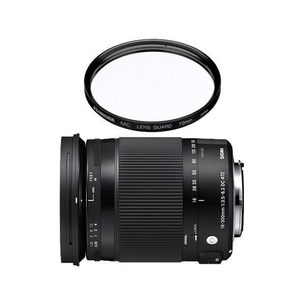 (レンズ保護フィルター付)シグマ 高倍率ズームレンズ 18-300mm F3.5-6.3 DC MACRO OS HSM (C) キヤノン用(メール便不可)